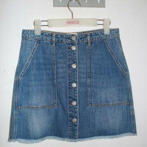 Just Jeans Women's Denim Mini Skirt Size 10 Raw Hem Medium Wash 100% Cotton